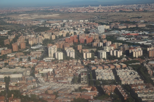 Approaching Madrid from the air.