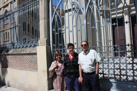 Pedro and family outside his former school.