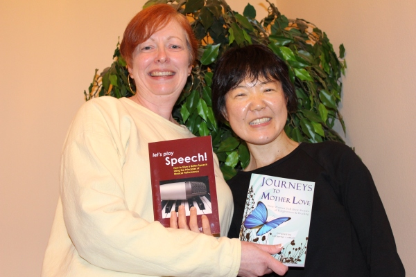 A friendly book swap between authors, Emiko Hori and me, June 2013.