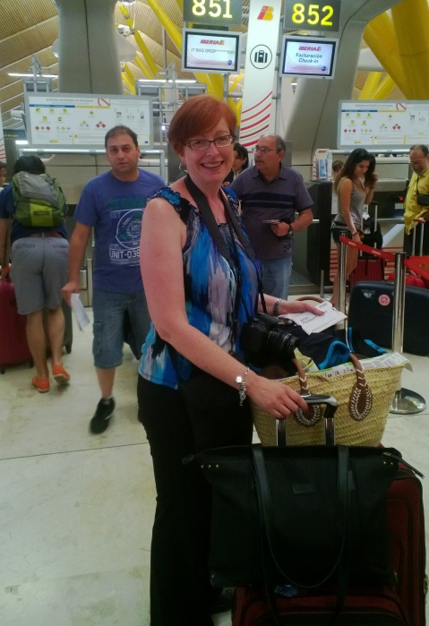 Navigating Barajas Airport on my own with 100 lbs. of luggage.