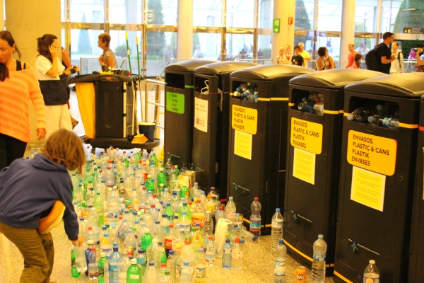 A comedic moment, spying the overflowing pile of water bottles at the security checkpoint.