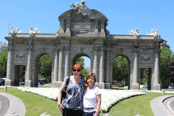 At the Alcala Gate with Rosa, Madrid.