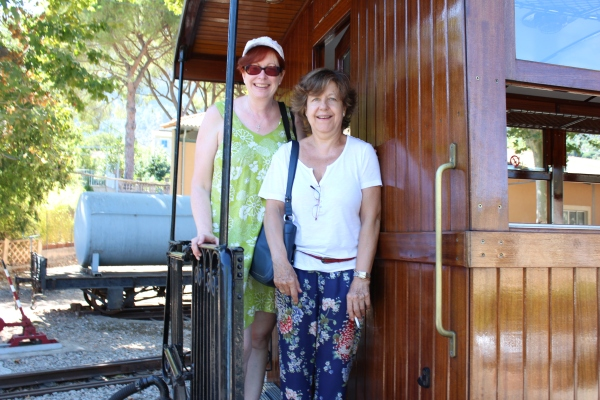 Taking the tram with Rosa from Soller to Palma, Mallorca, for a day of sightseeing.
