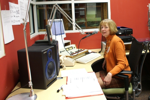 Getting comfortable behind the mic again at WMCR (25th college reunion)
