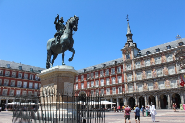 Beautiful monuments, statues, cathedrals, and architecture--constant visual reminders that I wasn't in America. (Plaza Mayor, Madrid)