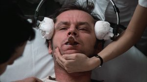 "Jack Nicholson's character receiving shock therapy, a barbaric practice, in ""One Flew Over the Cuckoo's Nest."""