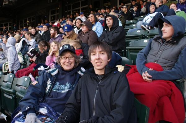 Mariner's Opening Day 2009, watching the return of Ken Griffey, Jr. to Seattle with my son.