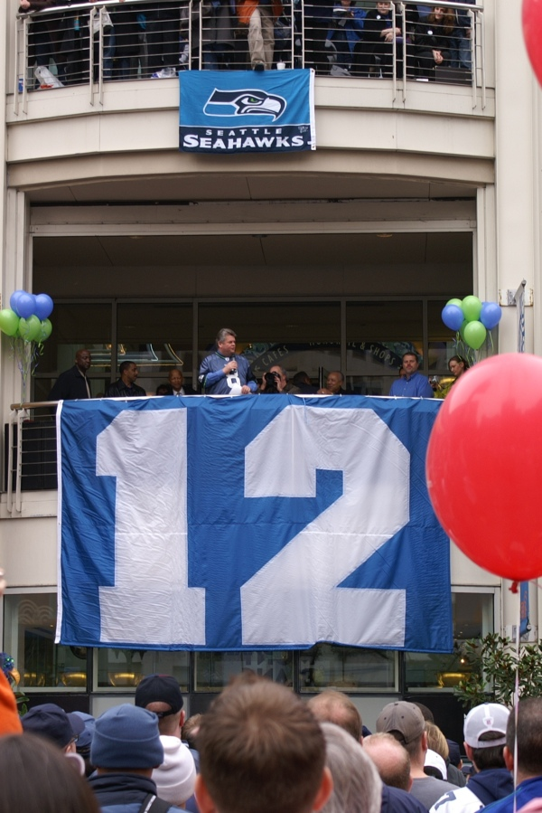 At a Seahawks rally before the Super Bowl in 2006.