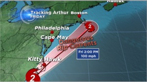 Hurricane Arthur tracking