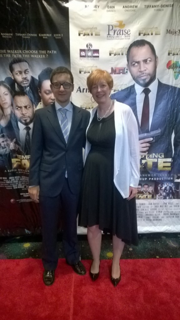 "On the red carpet with Pedro at the premiere of ""Tempting Fate""."