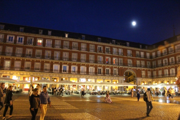 Present day Plaza Mayor at night