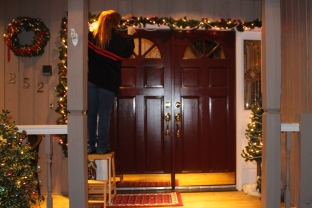 Decorating the front doorway