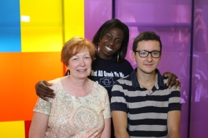 Pedro and me with Voké on set at the SpeaksTV studio.