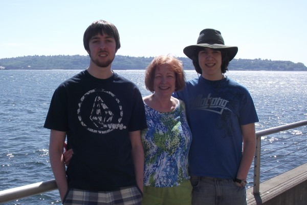With my sons on the Seattle waterfront, Mother's Day 2012.