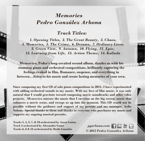 Memories CD back cover