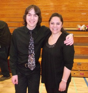 My son & his band teacher at their final junior high school concert.