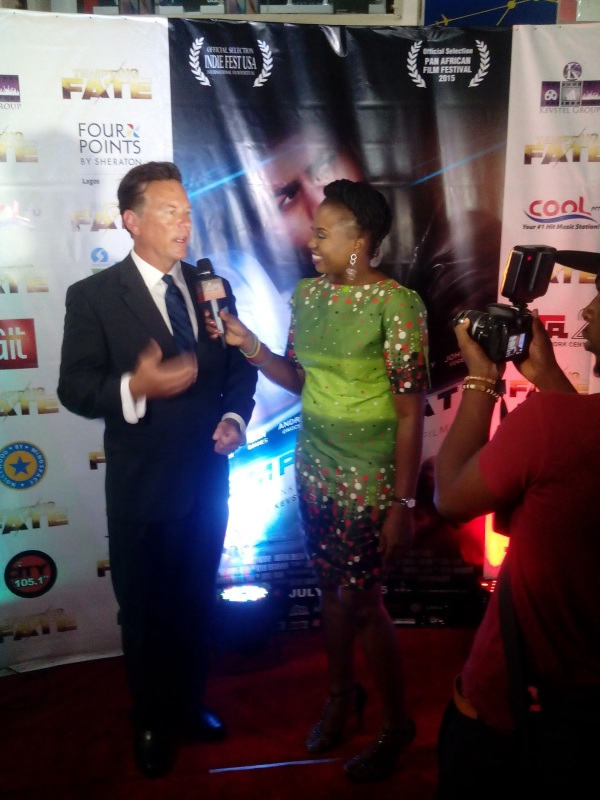 Another red carpet interview at the Lagos premiere, July 10, 2015. (Photo credit: Chris Willard Photography)