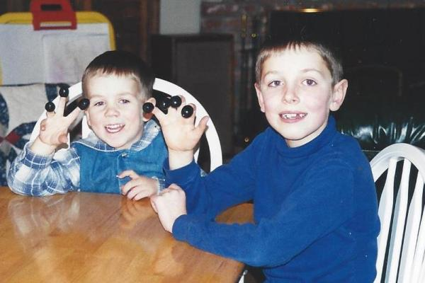 My sons loved their olives, January 2001.