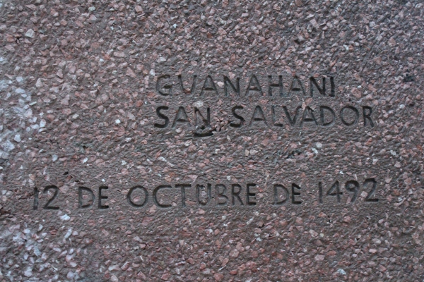 Date marker on Columbus monument in Madrid.