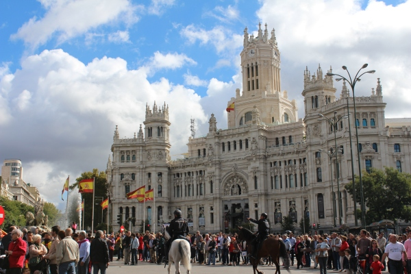 Plaza de Cibeles, blocked off for the parade, Madrid, October 12, 2014.