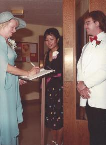 Mary Ann greets guests at my wedding