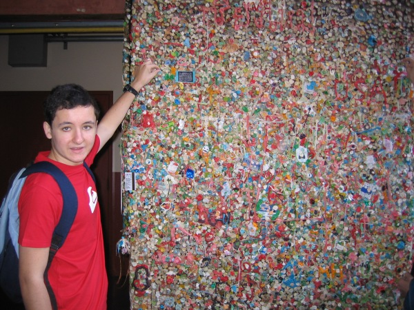 Pedro at the gum wall, July 2010.