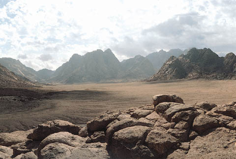Mount Sinai, where God met the Israelites in the desert.